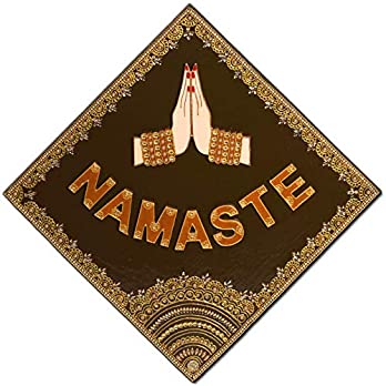 Handmade Wooden Painting Wall Decoration for Living Room, Bedroom, Yoga or Meditation Room – Namaste Sign Yoga Gift