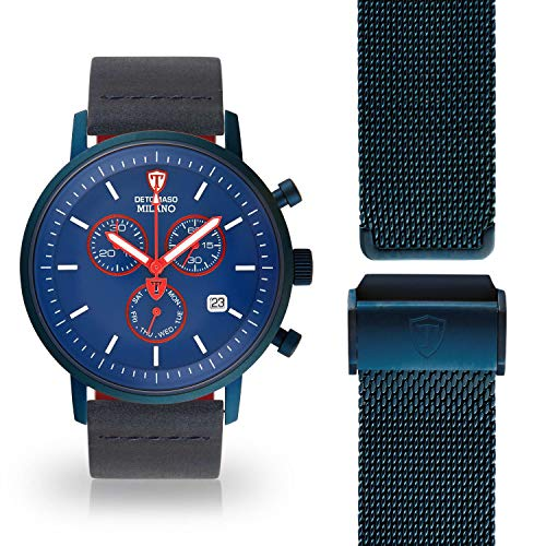 DETOMASO Milano Herren-Armbanduhr Chronograph Analog Quarz blaues Lederarmband blaues Zifferblatt DT1052-X-952-1 + 1 Milanaisearmband