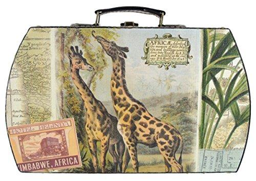 Motif girafe Étui de transport et de rangement en forme de bagages avec poignée en cuir - 30 cm 18 cm x 10 cm