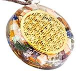 Collier en cristal QuanThor 1,6 po avec fleur de vie | Protection EMF | Reiki Charged Crystals Pendants | Pendentif énergétique de protection contre les radiations