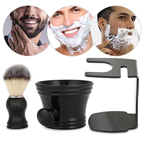 Set di pennelli da barba, 3 in 1 uomo rasatura barba kit ciotola + pennello + mensola professionale setola pennello tazza capelli set di attrezzi anself manuale razor rasoio maschio con setole
