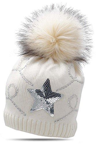 Damen Wintermütze Strickmütze Stern Pailetten Strass Fellbommel Flecce 17-05 Von Fashionshine24 (Weiss) (Strass Baumwolle, Elasthan)