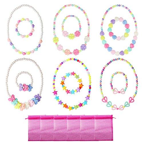 Candygirl 6 Set Prinzessin Halskette und Armband Baby Mädchen Schmuck Kostüm Dress up Schmuck Party ()