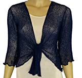 LADIES PLAIN KNITTED CROPPED TIE UP BOLERO SHRUG TOP - MASSIVE RANGE OF COLOURS FIT ALL SIZES (Navy)