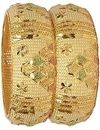 Mansiyaorange Traditional Party Wear Hand Meena Work One Gram Golden Bangles For Women Stylish (Premium Wax Dye...