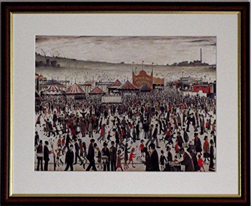 L S Lowry Spezialität Druck/Bild, Fair bei Daisy Nook-auf einem Leinen Struktur Medium, Walnut Finish Frame With Soft White Mount And Large Image, 20 x 16inch -