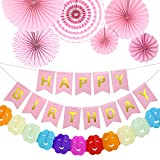 8 Mix Pack Total Happy Birthday Dekorationen gehören 1 alles Gute zum Geburtstag Banner/6 Tissue Party Fan/1 Rainbow Paper Garland-Mix C-Baby Pink