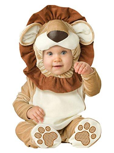 León animales bebé disfraz 3-24M manga larga de franela One piece bebé ropa bebé Pelele dorado dorado Talla:6-12M