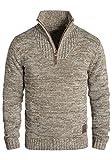 !Solid Philostrate Herren Strickpullover Troyer Grobstrick Pullover Aus 100% Baumwolle Mit Reißverschluss, Größe:M, Farbe:Dune (5409)