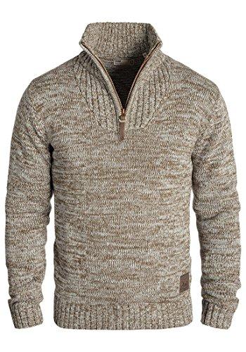 SOLID Philostrate Herren Strickpullover Grobstrick Pulli Troyer mit Stehkragen aus 100% Baumwolle Meliert, Größe:M, Farbe:Dune (5409)
