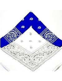 PAISLEY BANDANA scarf duo 1 x WHITE 1 x BLUE