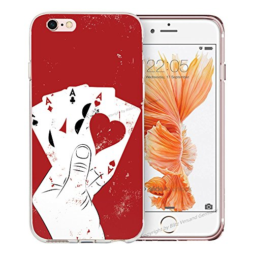 Blitz® BANANA motifs housse de protection transparent TPE caricature bande iPhone Stars & Stripes M16 iPhone 8 8s Four Aces M2