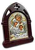 Heilige Familie aus Holz geschnitzten Ikone Silber vergoldet handgefertigt Christian JERUSALEM 6