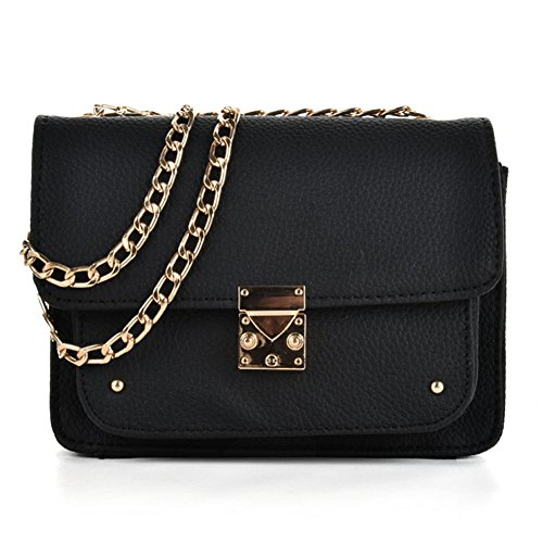 Sally Young Women's Exquisite Cute Solid Color PU Leather Mini Handbag with Chain Clutch Small Shoulder Bag(Black)