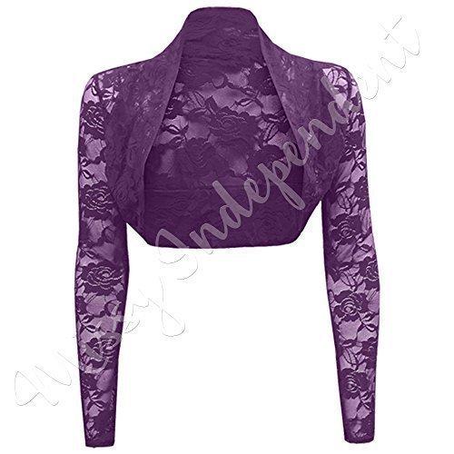Da donna Manica lunga Dettaglio In Pizzo Donna Bolero Coprispalle Corto Cardigan Top 8–26 Purple - Long sleeve Cropped Lace Shrug