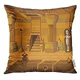 Tiro Cuscino colorato Egitto Paesaggio del Fumetto all'Interno della Tomba egizia Senza fine con Strati Separati per Gioco GUI Cuscino Decorativo Home Decor Cuscino Quadrato
