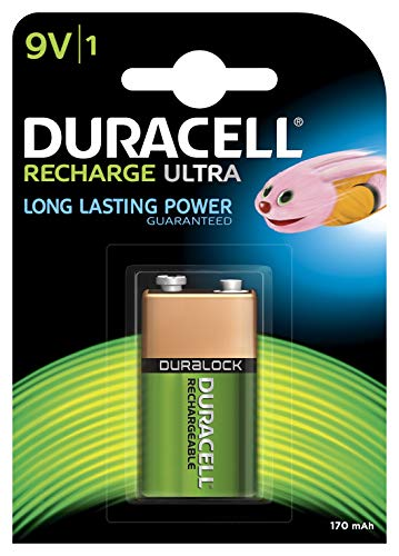 Duracell Recharge Ultra 9V Block Akku Batterien 6LR61 170 mAh, 1er Pack