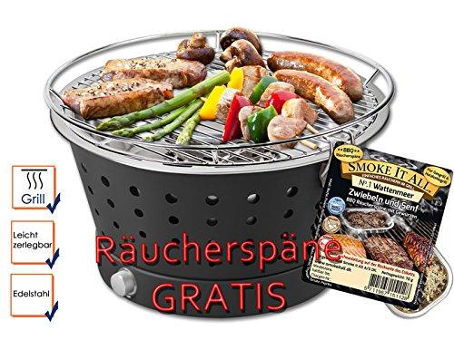 FUN BBQ Holzkohlegrill raucharm Ø35cm Inkl. GRATIS Räucherspäne mit Gewürzen