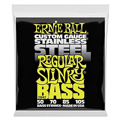 Ernie Ball 4-String Stainless Slinky Bass Strings (Extra/Hybrid/Super/Regular)Regular Slinky - 50-105