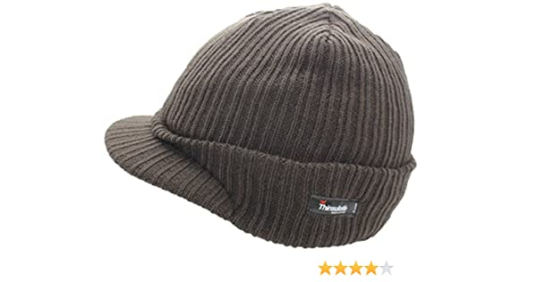 Mens Thinsulate PEAKED Thermal Beanie Hat Military Winter Warm Woolly Army Cap