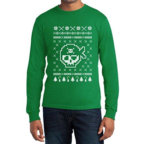 Piraten Totenkopf Hässlicher Weihnachtspullover Motiv Langarm T-Shirt Grün