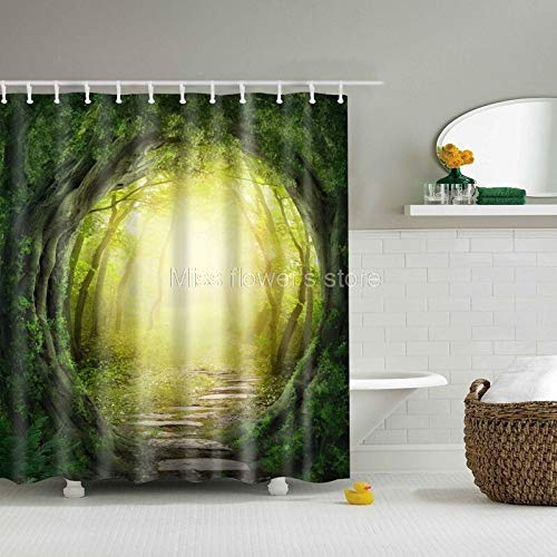 Fabric Kid - Dream Tree Hole Stone Design Custom Shower Curtain Bathroom Waterproof Mildewproof Polyester Fabric - Custom Designer Rods Rugs Bath Curtain Curtains Bathroom Islamic Shower Sets -