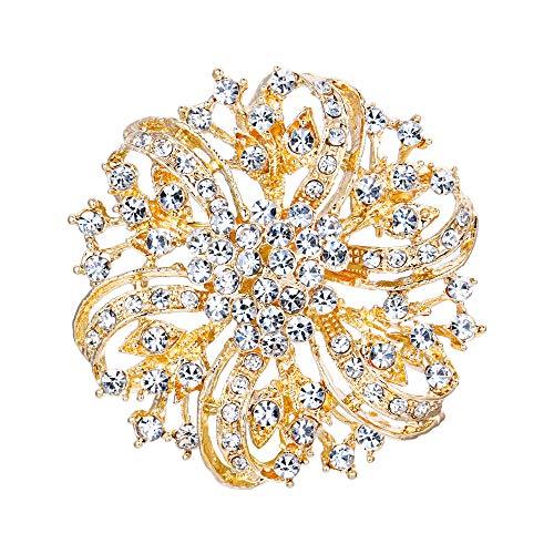 EVER FAITH österreichischen Kristall Vintage inspirierte Braut Blume Brosche Corsage Klar Gold-Ton