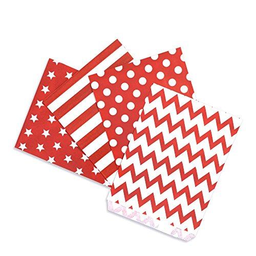 Papiertüten Mix rot, 4 Designs zu je 25 Stück / Geschenktüten / Candy Paper Bags (Candy Bags)