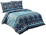 Buymax - 2 TLG Bettwäsche-Set Queensize Renforce Baumwolle mit Reißverschluss Öko-Tex, 155x220 cm, Ranken Sterne Blau