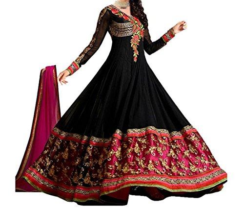 Super Deal Woman's Black Georgette Anarkali Unstitched Free Size XXL Salwar Suits Sets Dress (Indian Clothing)