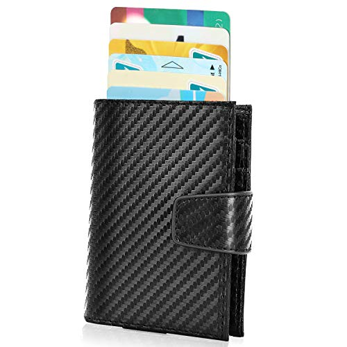 Monederos para hombres Minimalista Cartera delgada Titulares de tarjetas de crédito Bloqueo RFID con ventanas emergentes automáticas  caracteristicas:  Cuero, perfecto material fino y duradero finalmente, suave, se ve hermoso, se siente muy bien  N...