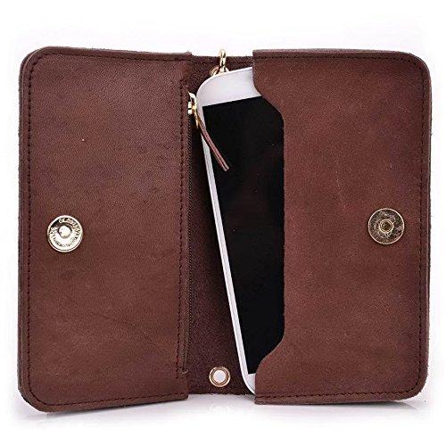 Kroo Pochette Cou en cuir fait avec dragonne pour Smartphone 12,7cm Housse de transport Compatible avec prune Gator/carreaux Plus noir - noir Marron - marron