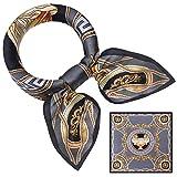 UKLink Frau Seidenschal Mulberry Square Schals Satin Bandana Damen Haar Schal Halstuch Wraps 21 x 21 Zoll (grau)