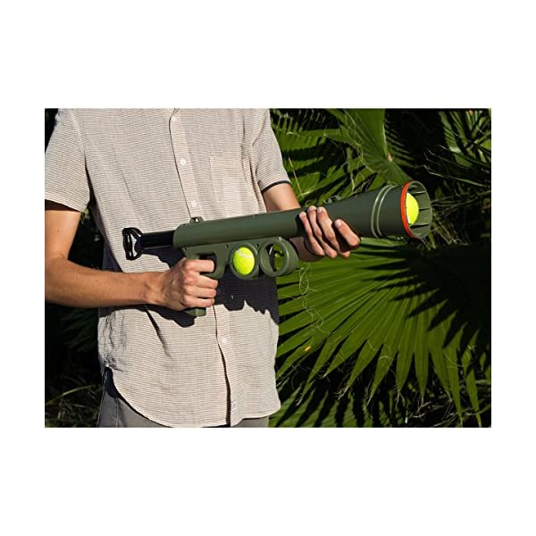 OxGord BazooK-9 Tennis Ball Launcher Gun - Rated Best Dog Toy - Includes 2 Squeaky Ball Toys for Pet Bazooka Semi Automatic Blast 2