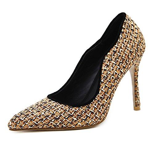 Aisun Damen Schick Spitz Zehen Stiletto Heel Low Top Paillette Pumps Gold