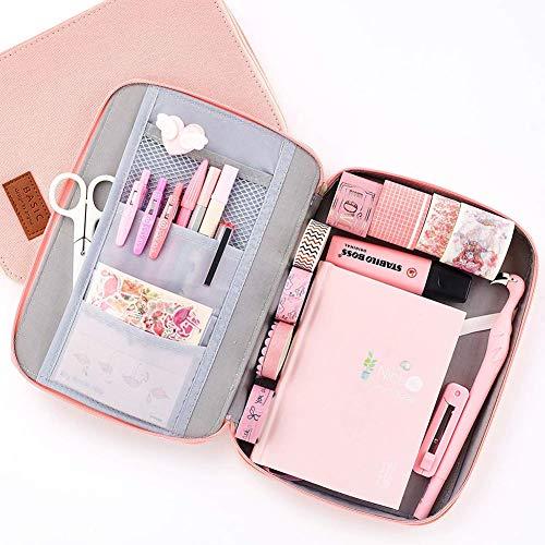 Shager - 1pcs Schreibmappen a6 Federmäppchen Rosa Groß/Federtasche Mädchen Teenager Pink, Große Kapazität Briefpapier Pouch Stifteetui Mäppchen Leinen, 6.5 * 9 * 1.2 inches