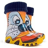 Lux Bright Boys Girls Kids Warm Fleece Lined Wellington Boots Wellies (Tiger, 13-1 UK / 32-33 EU - 205mm)