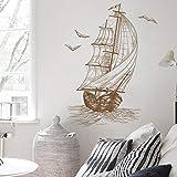 ZGQQQ Sailboat Wall Stickers Sketch Home Decoration for Door Wall Living Room Bedroom Vinyl Decals Simple PVC Wall Decals/Adhesive