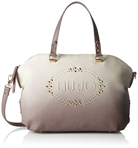 Liu Jo Damen Lucciola Boston Bag Bowling Tasche, Mehrfarbig (Tortora/True Champag), 15x28x35 cm
