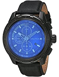 Nautica Herren-Armbanduhr Chronograph Quarz Leder NAI21504G