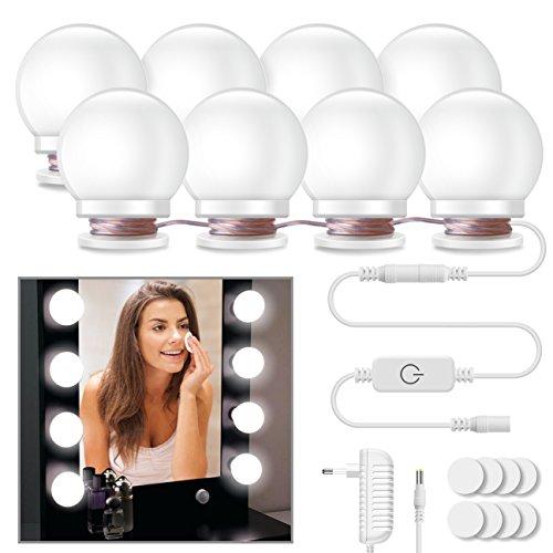 LED Spiegelleuchte, Minger 8 Stücke 6500K dimmbar Hollywood Stil Spiegellampe Badleuchte für Bad Schminkspiegel (Spiegel nicht enthalten) (8 Stück Bad)