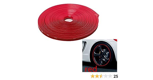 8mm X 8m Rot Red Felgenrand Alufelgenschutz Selbstklebende Protektor Band Kunststoff Schutzstreifen Schutz Streifen Kunststoff Aufkleber Profil Zum Schutz Der Felge Sarachen Inion Auto