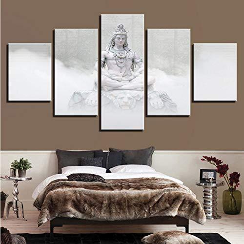 zxfcccky Kein Rahmen Leinwand Wandkunst Poster Wohnzimmer Wohnkultur 5 Stücke Hindu Götter Shiva Gemälde Hd Drucke Hinduismus Bilder Modular