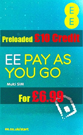 EE Pay as you go Trio Sim Card Prloaded With £10 Credit.