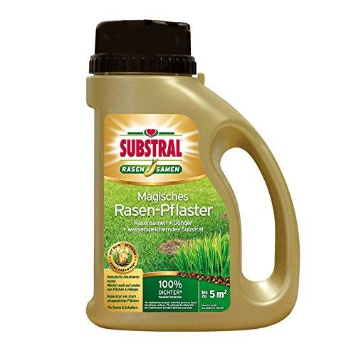 Substral  Magisches Rasen-Pflaster, Rasenreparatur - Mischung aus Rasensamen, Premium Keimsubstrat und Dünger im praktischen Streuer, 1 kg für bis zu 5 m²