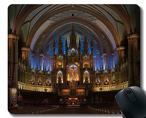 Gaming Mouse Pad Custom, Glaube Notre-Dame-Basilika (Montreal) Mauspad Genähte Grenze