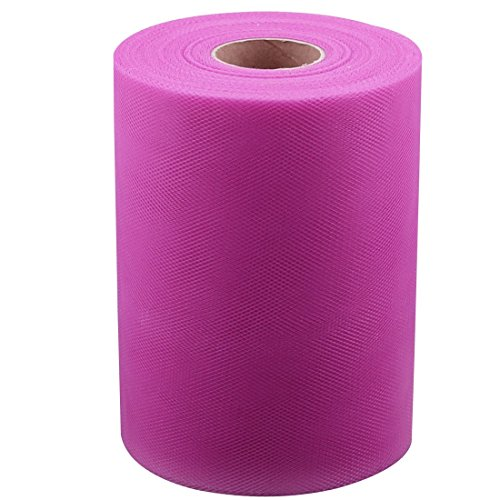 ZCHXD Nylon Fabric Banquet Wedding Party DIY Tutu Tulle Roll Spool Decor 100 Yards Fuchsia -