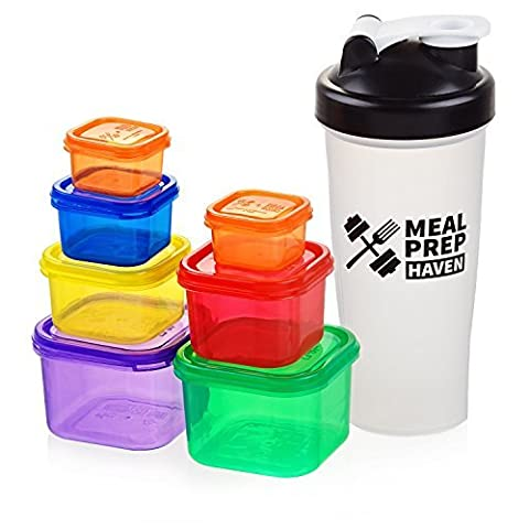 Meal Prep Haven 7 Piece Portion Control Containers & Protein Shaker Bundle with Guide, 100% Leak Proof, Multi-Colored