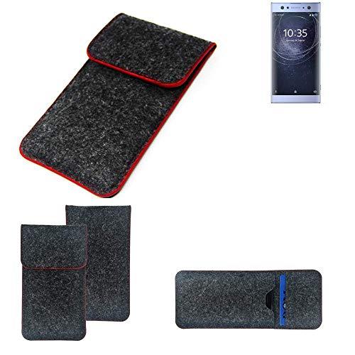 K-S-Trade® Filz Schutz Hülle Für -Sony Xperia XA2 Ultra Dual-SIM- Schutzhülle Filztasche Pouch Tasche Case Sleeve Handyhülle Filzhülle Dunkelgrau Roter Rand