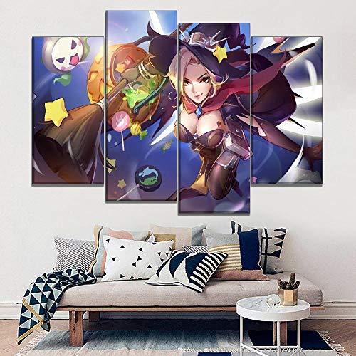 CNBHHH Leinwanddrucke 4 Panel Halloween Sexy Mercy Spiel Girl Hero Hause Dekorative Wand Kunstwerk Leinwand Druck Poster Malerei Decor No Frame (Größe B)